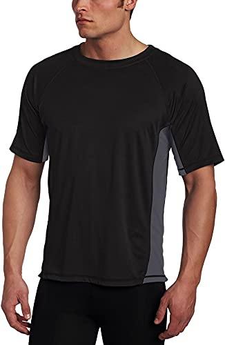 Kanu Surf Men's CB Rashguard UPF 50+ Swim Shirts (Regular & Extended Sizes), Black, Small