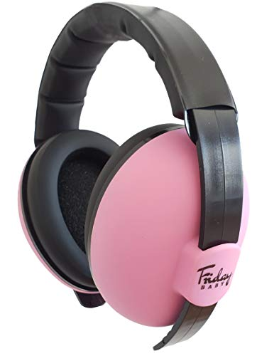 Fridaybaby Baby Ear Protection (0-2+ Years) - Comfortable and Adjustable Noise Cancelling Baby Ear Muffs for Infants & Newborns | Baby Headphones Noise Reduction for Airplanes Fireworks Concert, Pink