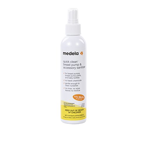Medela Quick Clean Breast Pump and Accessory Sanitizer Spray Safe No Rinse Breastpump Sterilizer Eliminates 99.9 of Common Bacteria and Germs 8 Fluid Ounces, Clear