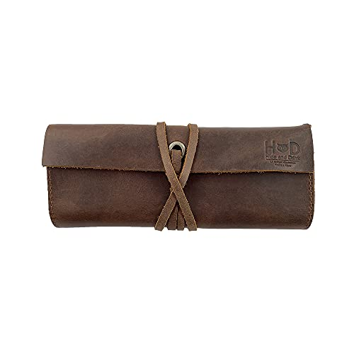 Rustic Leather Pencil Roll Pouch