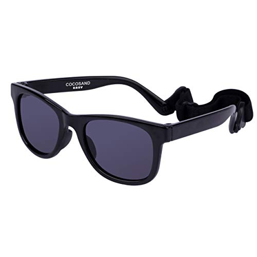 COCOSAND Baby Sunglasses with Strap, Black