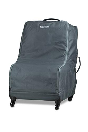 Car Seat Travel Bag with Wheels by Hello Jolie   Includes Add a Bag Luggage Strap   All Around Padding for Infant or Convertible Carseat   Water Resistant