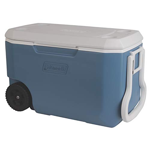 Coleman Rolling Cooler | 62 Quart Xtreme 5 Day Cooler with Wheels | Wheeled Hard Cooler Keeps Ice Up to 5 Days, Blue