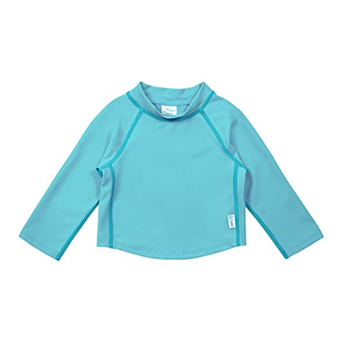i play. by green sprouts Baby Long Sleeve Rashguard | All-Day UPF 50+ Sun Protection—Wet or Dry, Aqua, 6 mo