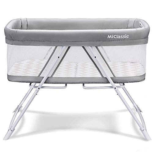 MiClassic All mesh 2in1 Stationary&Rock Bassinet One-Second Fold Travel Crib Portable Newborn Baby (Crystal)…