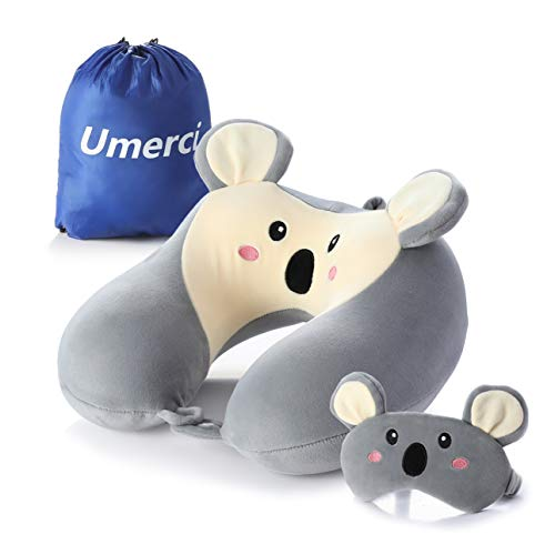 Memory Foam Animal Travel Pillow, Comfortable Neck Pillow with Cute Eye Mask Lightweight Traveling Pillow for Airplane, Car, Train, Bus and Home Use (Koala)