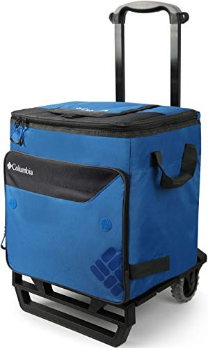 Columbia Crater Peak 50 Can Rolling Thermal Pack with All Terrain Cart, 80 lb. Capacity , Blue