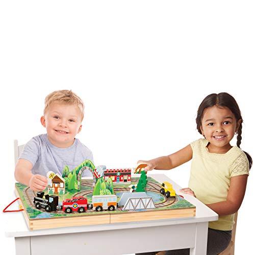 Melissa & Doug 17-Piece Wooden Take-Along Tabletop Railroad, 3 Trains, Truck,Play Pieces, Bridge
