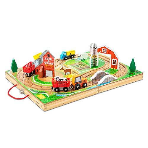 Melissa & Doug 17-Piece Wooden Take-Along Tabletop Farm, 4 Farm Vehicles, Play Pieces, Barn, Grain House