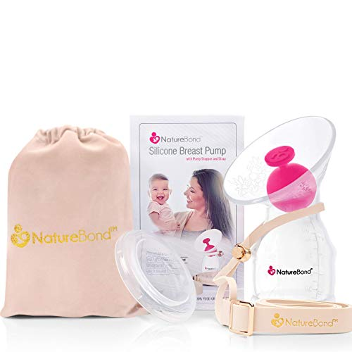 NatureBond Silicone Breastfeeding Manual Breast Pump Milk Saver Suction. All-in-1 Pump Strap, Stopper, Cover Lid, Carry Pouch, Air-Tight Vacuum Sealed. BPA Free