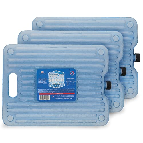 Cooler Shock Ice Packs for Coolers. Thin, Reusable, Long Lasting. Freezer Ice Pack Set for Bags, Insulated Totes. Stays at 18-Degree F