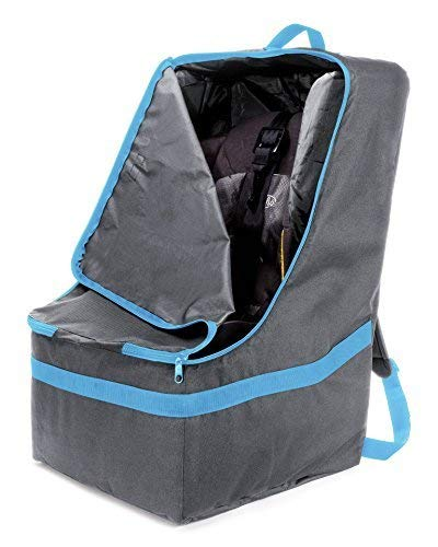 Zohzo Car Seat Travel Bag — Adjustable, Padded Backpack for Car Seats — Car Seat Travel Tote (Gray with Black Trim)