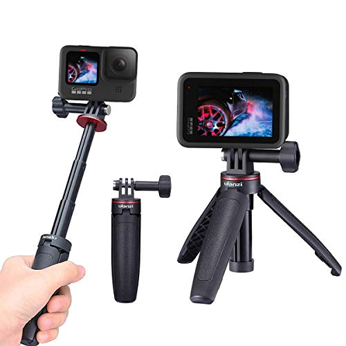 Universal Extendable Selfie Stick Tripod and Mini Vlog Tripod Stand for GoPro Hero 9,GoPro8,Gopro Max,GoPro 7 Black, DJI Osmo Action,Insta360 ONE R, Campark 4K Action Cameras