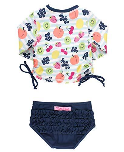 RuffleButts Girls Rash Guard 2-Piece Swimsuit Set - Long Sleeve Bikini with UPF 50+ Sun Protection