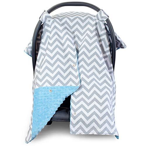 Kids N' Such Peekaboo Baby Car Seat Cover Car Seat Canopy & Nursing Cover, Chevron/Blue Minky