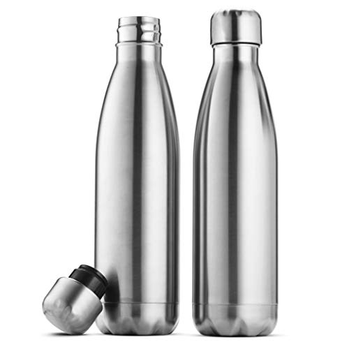 Triple Insulated Stainless Steel Water Bottle (set of 2) 17 Ounce, Sleek Insulated Water Bottles, Keeps Hot and Cold, 100% LeakProof Lids, Sweat Proof Water Bottles, Great for Travel, Picnic& Camping.