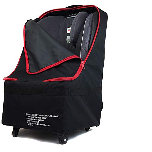 Simple Being Baby Car Seat Travel Bag, Gate Check, Infant Carriers Booster Cover Protector for Air Travel (Black with Wheels)
