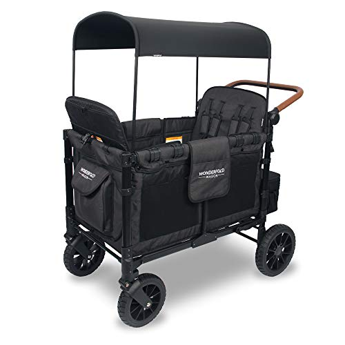 WONDERFOLD W4 Luxe Multi-Function 4 Passenger Folding Stroller Wagon - Adjustable Canopy, Reclining Seats with Magnetic Buckles, and an Adjustable Vegan Leather Covered Handle Bar (Black)