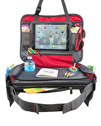 """BE Family Travel - Kids Car Seat Toddler Travel Tray with Unique Fold-in """"No Need to Unload Again"""" Side Pockets with Zipper RED Lap Play Snack Tray"""