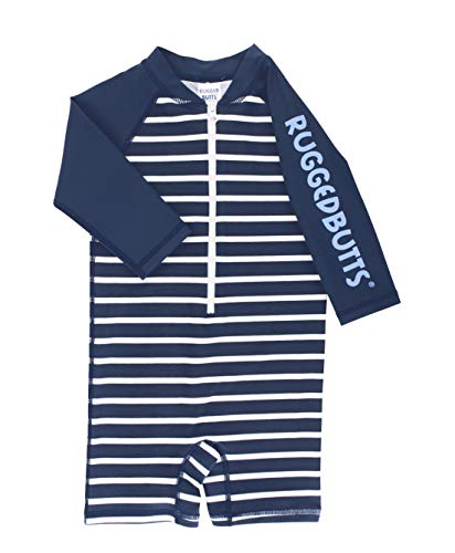 RUGGEDBUTTS Baby/Toddler Boys Striped One Piece Swimsuit Rash Guard UPF 50+ Sun Protection Romper