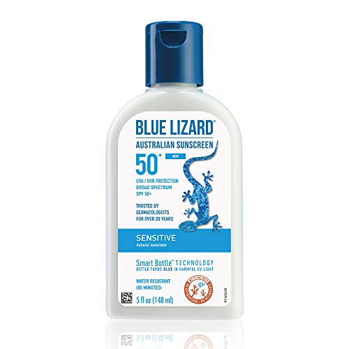 BLUE LIZARD Sensitive Mineral Sunscreen with Zinc Oxide, SPF 50+, Water Resistant, UVA/UVB Protection with Smart Bottle Technology - Fragrance Free, 5 oz