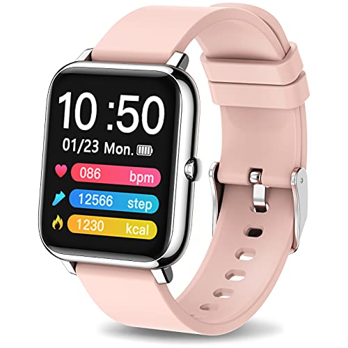 """Mugo Smart Watch for Women, Fitness Tracker and Heart Rate Monitor, Smartwatch 1.4"""" TFT LCD Screen with Sleep Monitor and Custom Dial, IP67 Waterproof Pedometer, Fitness Watch for iOS and Android Pink"""