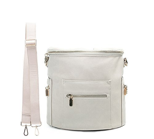 Mini Diaper Bag Leather by miss fong,Small Diaper Bag with In bag organizer, Insulated Pocket and Shoulder Strap(Grey)