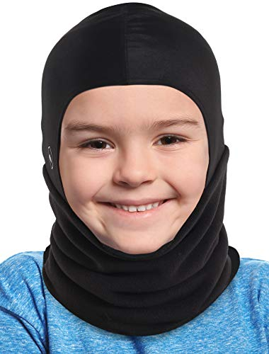 Kids Balaclava Ski Mask - Winter Face Mask & Fleece Neck Warmer with Helmet Liner Hood - Cold Weather Snow Hat & Ninja Mask - Fits Under Helmets for Children Toddlers Boys Girls Juniors Youth - Black