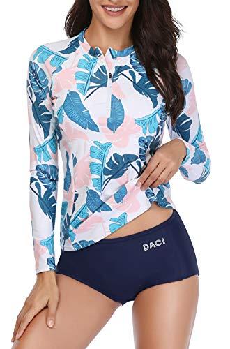 Daci Women Pink Blue Rash Guard Long Sleeve Zipper Bathing Suit with Built in Bra Swimsuit UPF 50 XS