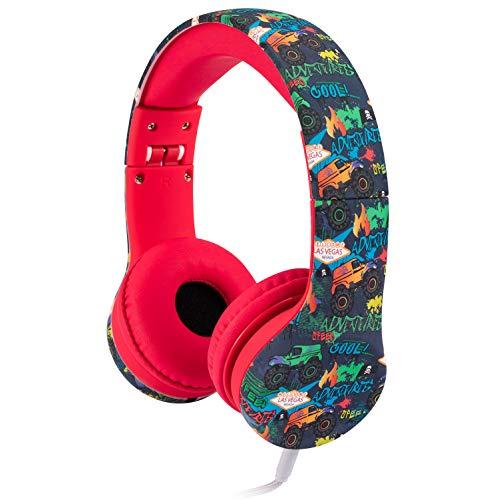 Snug Play+ Kids Headphones Volume Limiting and Audio Sharing Port (Monster Trucks)