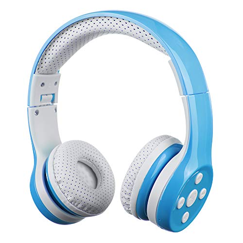 Kids Bluetooth Headphones, Yusonic Wireless Headphones Bluetooth for Toddler with 15 Hours Play time & Sharing Port, Boys Wireless Headphones with Microphone for School Tablet Laptop (Blue 1)
