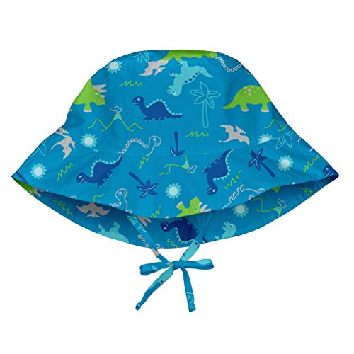 i play. by green sprouts unisex-baby Bucket Sun Protection Hat,Aqua Dinosaurs,0/6mo