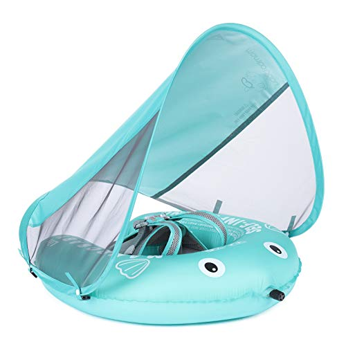 Mambobaby Baby Swim Float with Canopy, Newest Compressible Folding Pool Baby Float, Upgrade Soft Waterproof Skin-Friendly Material Toddler Swim Float for Boys and Girls (Standard Edition)