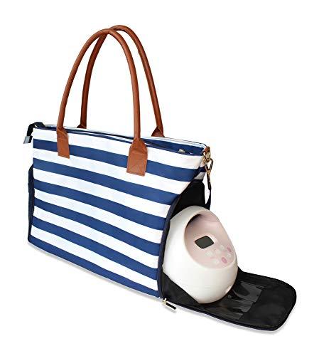 Lil Elephant Breast Pump Bag - Premium Pumping Bag for Spectra, Medela Breastpump | Stylish Tote Breastpump Bags for Moms | Breast Pump Bags and Totes (Navy & White Stripes)