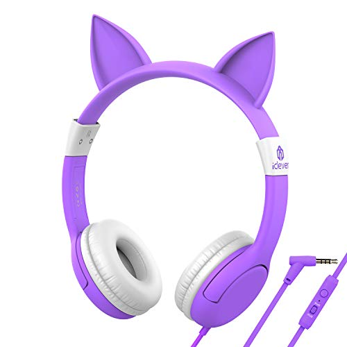 iClever HS01 Food Grade Kids Headphones with Microphone, 85/94dB Volume Control, Hello Kitty Cat Ear Headphones for Kids Boys Girls, Childrens Headphones for Online School/Travel/Tablet, Purple