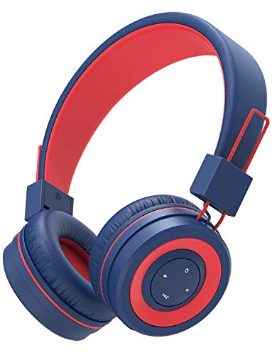 iClever BTH02 Kids Headphones, Kids Wireless Headphones with MIC, 22H Playtime, Bluetooth 5.0 & Stereo Sound, Foldable, Adjustable Headband, Childrens Headphones for iPad Tablet Home School, Blue/Red