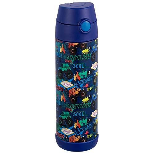 Snug Kids Water Bottle - insulated stainless steel thermos with straw (Girls/Boys) - Monster Trucks, 17oz