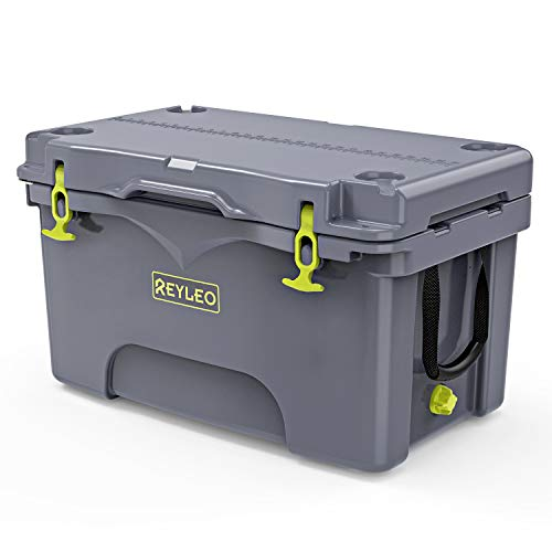REYLEO 52 Quart Portable Rotomolded Cooler, Heavy-Duty Ice Chest with Fish Ruler/Tie-Down Points Keeps Ice Up to 4 Days Ideal for Camping, BBQs, Tailgating & Outdoor Activities