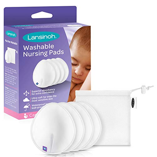 Lansinoh Reusable Nursing Pads for Breastfeeding Mothers, 4 Pads , White