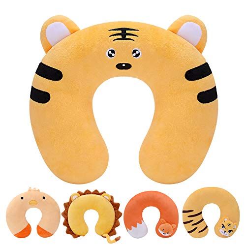 H HOMEWINS Travel Pillow for Kids Toddlers - Soft Neck Head Chin Support Pillow, Cute Animal in Any Sitting Position for Airplane, Car, Train, Machine Washable, Children Gifts (Tiger)