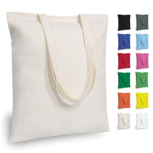 TOPDesign 5   12   24   48 Pack Economical Cotton Tote Bag, Lightweight Medium Reusable Grocery Shopping Cloth Bags, Suitable for DIY, Advertising, Promotion, Gift, Giveaway, Activity (5-Pack)