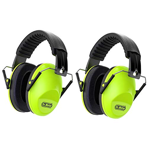 Dr.meter EM100 Kids Protective Earmuffs with Noise Blocking Children Ear muffs for Sleeping, Studying, Shooting, Babies 27NRR Adjustable Head Band, Green-2 Packs