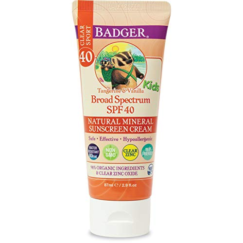 Badger - SPF 40 Kids Clear Sport Sunscreen Cream with Zinc Oxide for Face & Body, Broad Spectrum & Water Resistant Reef Safe Sunscreen, Natural Mineral Sunscreen, 2.9 fl oz