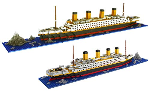 dOvOb Micro Mini Blocks Titanic Model Building Set with 2 Figure, 1872 Piece Mini Bricks Toy, Gift for Adults and Kids