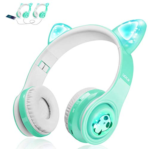 Kids Bluetooth Headphones, Cat Ear LED Light Up Wireless Foldable Headphones Over Ear with Mic, Music Sharing Function and 85db Limited for iPhone/iPad/Smartphones/Laptop/PC(Mint)