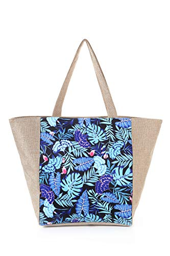Extra Large Waterproof Canvas Beach Bag with 4 Inner Pockets for Travel, Gym, Swim and Beach Holiday