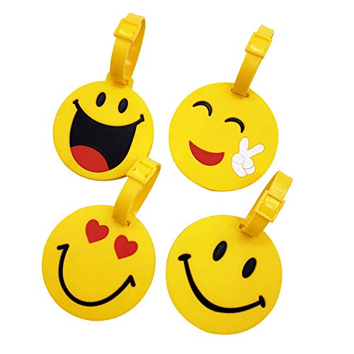 Mziart Cute Face Luggage Tags Set of 4, Personalized Smiling Face TSA Travel Bag ID Suitcase Labels for Women Men