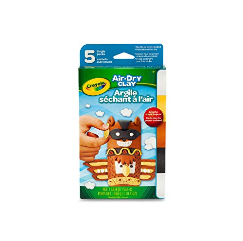Crayola Air Dry Clay, Assorted Natural Colors, 5 Count