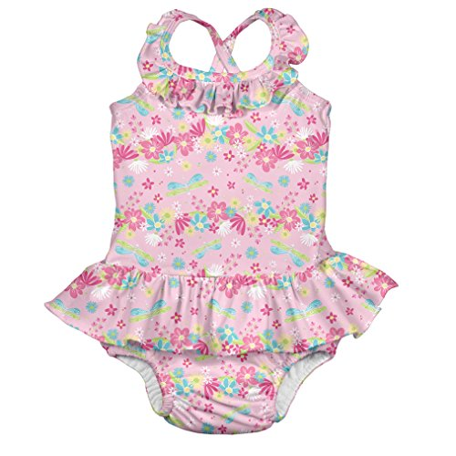 i play. by green sprouts Girls' One-Piece Swimsuit with Built in Reusable Swim Diaper, Light Pink Dragonfly Floral, 6 Months