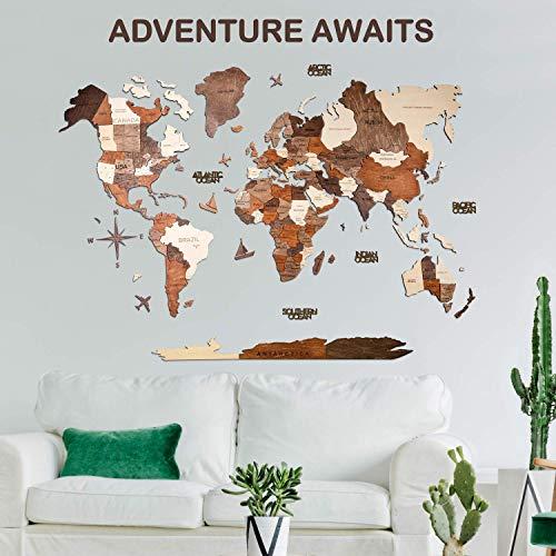 3D Wooden World Map